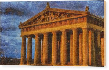 Parthenon On A Stormy Day Wood Print by Dan Sproul