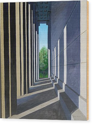 Parthenon Shadows Wood Print by Dillard Adams