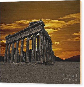 Parthenon Wood Print by Shirley Mangini
