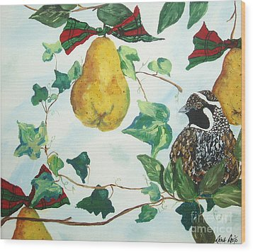 Wood Print featuring the painting Partridge And  Pears  by Reina Resto