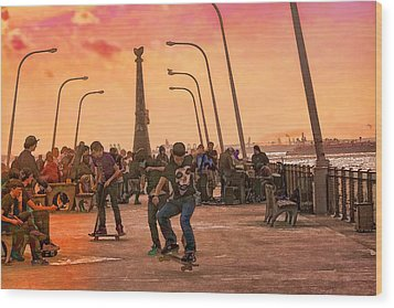 Party At The Pier Wood Print by Terry Cork