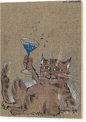 Party Cat Wood Print by Angel  Tarantella