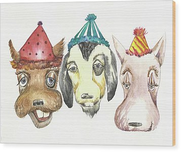 Party Dogs Wood Print