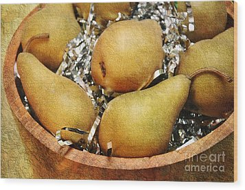 Party Pears Wood Print by Andee Design