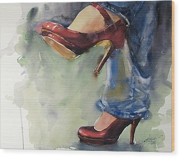 Party Shoes Wood Print by Judith Levins