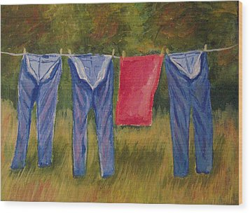 Pa's Trousers Wood Print by Belinda Lawson