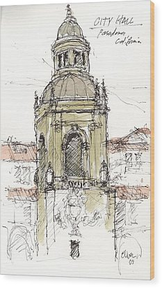 Wood Print featuring the mixed media Pasadena City Hall by Tim Oliver