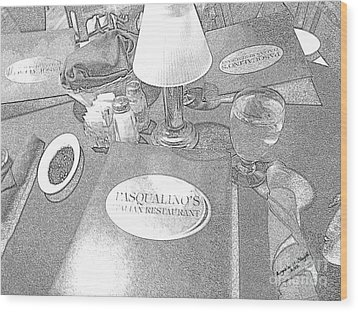 Wood Print featuring the digital art Pasqualino's Resturant Setup by Angelia Hodges Clay