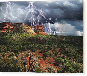 Passing Storm Near Sedona Arizona Wood Print by Ric Soulen