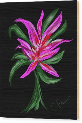 Wood Print featuring the digital art Passion Flower by Christine Fournier