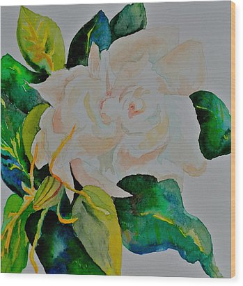 Wood Print featuring the painting Passionate Gardenia by Beverley Harper Tinsley