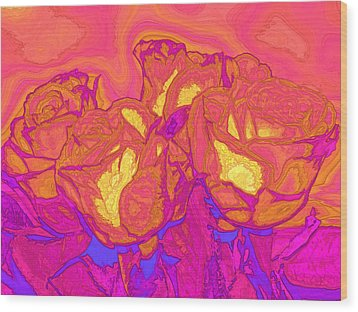 Passion's Petals Wood Print by Wendy J St Christopher