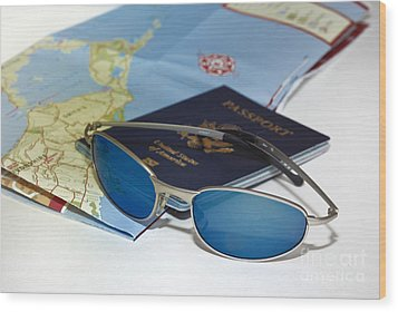 Passport Sunglasses And Map Wood Print by Amy Cicconi
