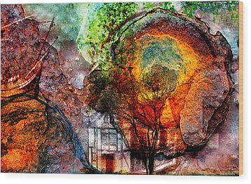 Wood Print featuring the mixed media Past Or Future? by Ally  White