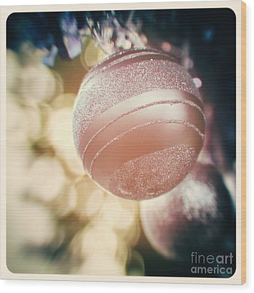 Pastel Christmas Baubles Wood Print by Jane Rix
