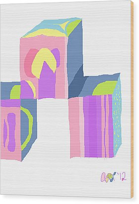 Wood Print featuring the painting Pastel Cubes by Anita Dale Livaditis