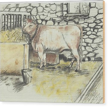 Cow In A Barn Wood Print by Francine Heykoop