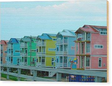 Pastel Houses Wood Print by Randi Grace Nilsberg