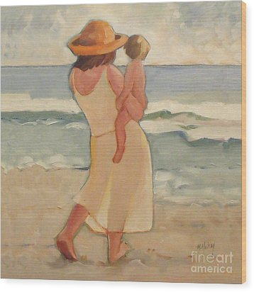 Pastel Morning Beach Walk With Mother And Baby Wood Print