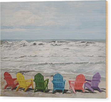 Wood Print featuring the painting Pastel Paradise by Sandra Nardone