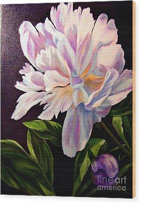 Pastel Peony Wood Print by Anne Barberi