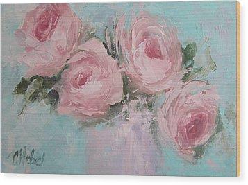 Pastel Pink Roses Painting Wood Print by Chris Hobel