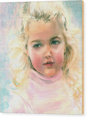 Pastel Portrait Of An Angelic Girl Wood Print