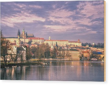 Pastel Prague Morning Wood Print by Joan Carroll