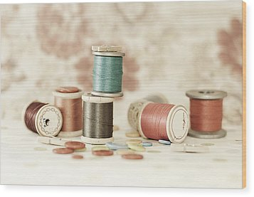 Pastel Threads And Buttons Wood Print by Sofia Walker