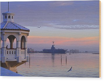 Pastel Uss Lexington Wood Print by Leticia Latocki