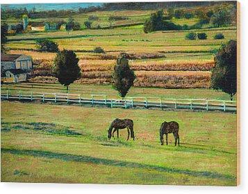 Pastoral Green Wood Print