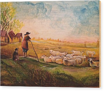 Wood Print featuring the painting Pastoral Landscape by Egidio Graziani