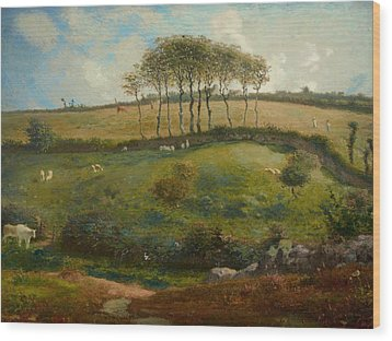 Pasture Near Cherbourg Wood Print by Jean-Francois Millet