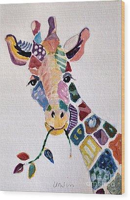 Patchwork Giraffe Wood Print