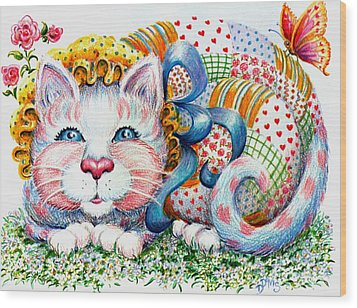 Wood Print featuring the drawing Patchwork Patty Catty by Dee Davis