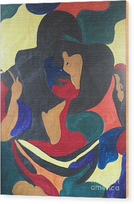 Wood Print featuring the painting Patchwork Velvet by Denise Tomasura