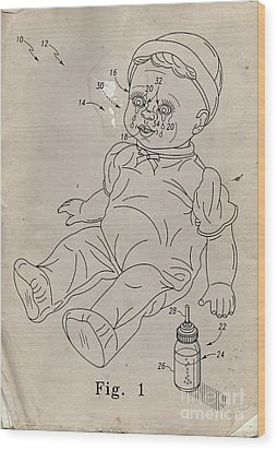 Patent For Crying Baby Doll Wood Print by Edward Fielding