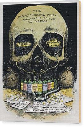 Patent Medicine Cartoon Wood Print by Granger