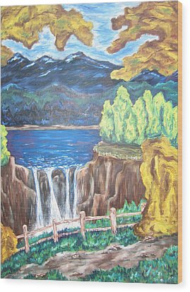 Wood Print featuring the painting Path By The Falls by Cheryl Pettigrew