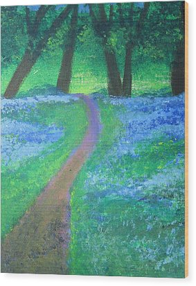 Path In Woods Wood Print by Diana Riukas