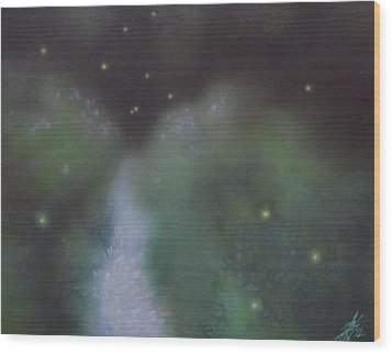 Path To Asters And Fireflies Wood Print