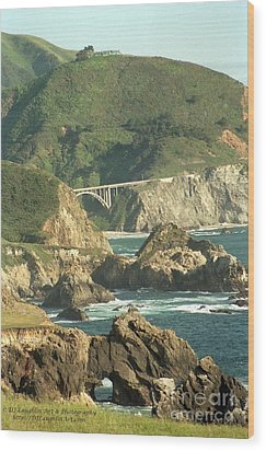 Path To Bixby Bridge Wood Print by DJ Laughlin