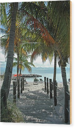 Path To Smathers Beach - Key West Wood Print by Frank Mari