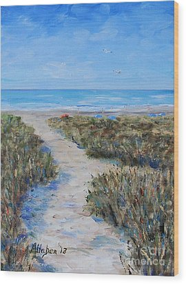 Path To The Beach Wood Print by Stanton Allaben