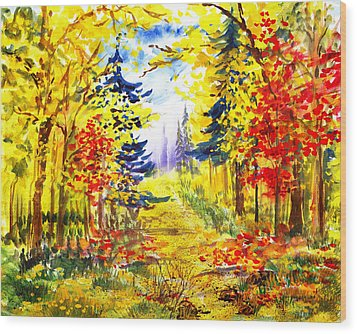 Path To The Fall Wood Print by Irina Sztukowski