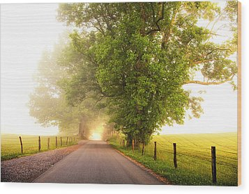 Path To  The Fog Wood Print by Andrew Soundarajan