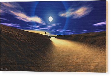 Path To The Moon Wood Print by Tyler Robbins