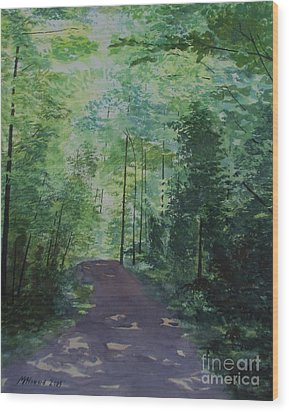 Wood Print featuring the painting Path To The River by Martin Howard