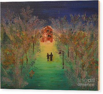 Wood Print featuring the painting Pathway Home by Denise Tomasura