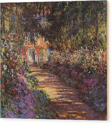 Pathway In Monets Garden In Giverny Wood Print